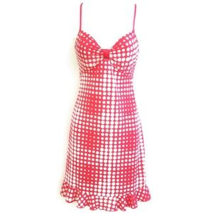 Natori Dress Pink Polka Dots White Ruffle Hem XS